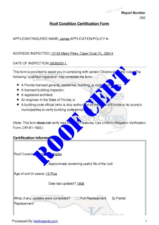 Roofing inspection template appendix d construction for Free roof certification template